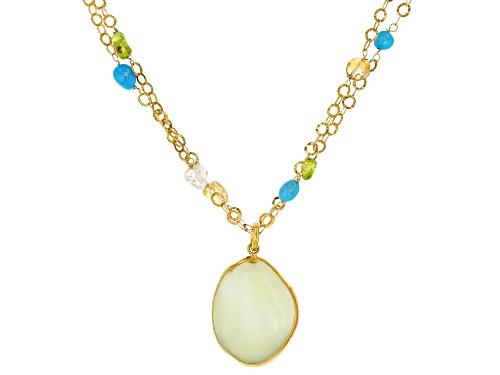 Photo of Tehya Oyama Turquoise™ Drusy Enhancer & Multi-Gem 18k Gold Over Silver Double Strand Necklace - Size 18