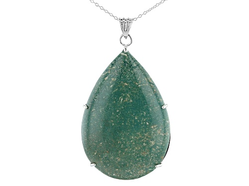 Photo of Tehya Oyama Turquoise™ 52x35mm Pear Shape Green Kingman Turquoise Silver Pendant With Chain
