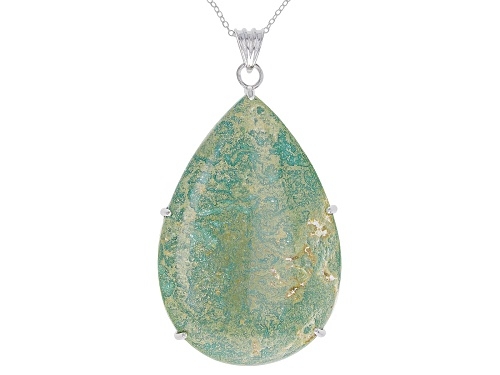 Photo of Tehya Oyama Turquoise™ 52x35mm Pear Shape Light Green Kingman Turquoise Silver Pendant With Chain