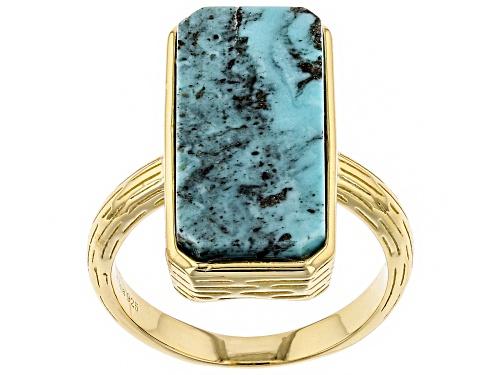 Photo of Tehya Oyama Turquoise™ 20x9mm Rectangular Blue Kingman Turquoise 18k Gold Over Silver Ring - Size 8