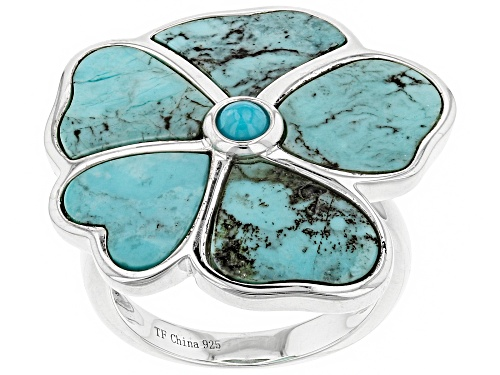 Photo of Tehya Oyama Turquoise ™ Blue Kingman Turquoise Silver Flower Ring - Size 8