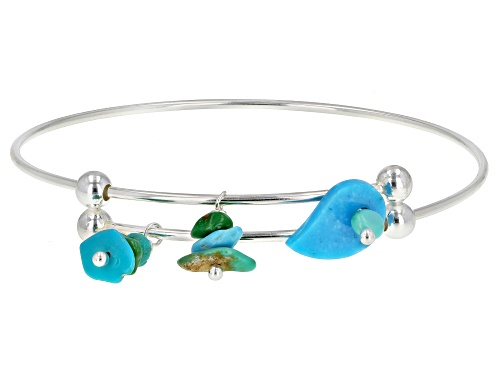 Photo of Tehya Oyama Turquoise™ Mixed Shapes Blue And Green Kingman Turquoise Silver Bangle Bracelet