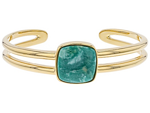 Photo of Tehya Oyama Turquoise™ 18mm Square Cushion Green Kingman Turquoise 18k Gold Over Silver Cuff