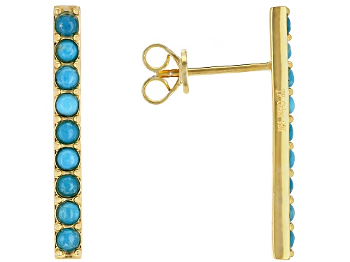 Photo of Tehya Oyama Turquoise™ 2mm Round Sleeping Beauty Turquoise 18k Gold Over Silver Earrings