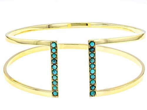 Photo of Tehya Oyama Turquoise™ 2mm Round Sleeping Beauty Turquoise 18k Gold Over Silver Cuff Bracelet - Size 7.5