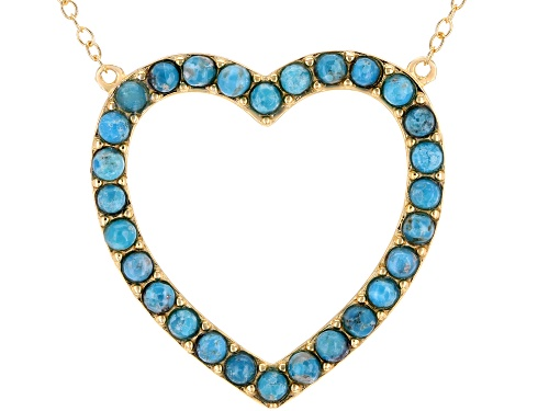 Photo of Tehya Oyama Turquoise™ 2mm Round Sleeping Beauty Turquoise 18k Gold Over Silver Heart Necklace - Size 18