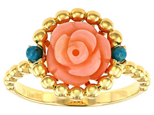 Photo of Tehya Oyama Turquoise™ Pink Coral Rose & Sleeping Beauty Turquoise 18k Gold Over Silver Ring - Size 12