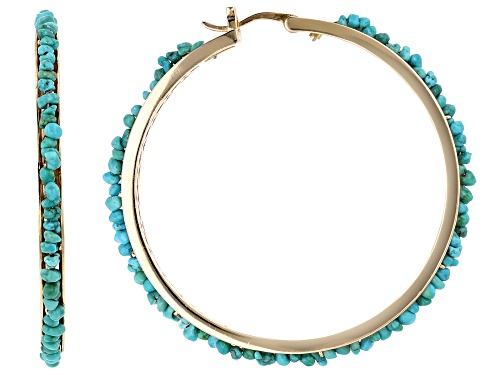 Photo of Tehya Oyama Turquoise™ Free-Form Kingman Turquoise Nugget 18k Gold Over Silver Hoop Earrings