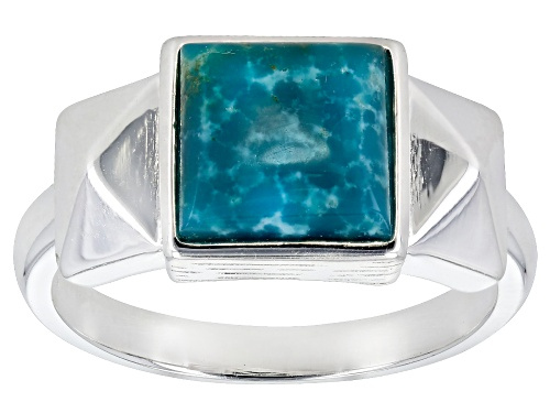 Photo of Tehya Oyama Turquoise™ 8mm Square Blue Kingman Turquoise Solitaire Sterling Silver Ring - Size 8