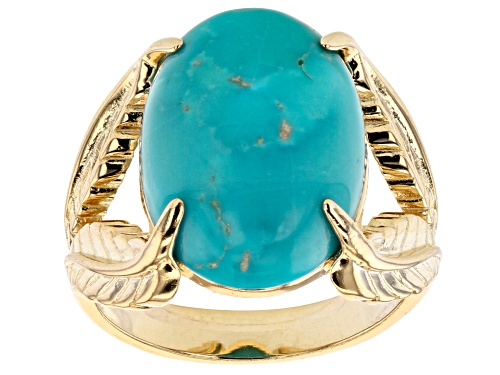 Photo of Tehya Oyama Turquoise™ 18x13mm Oval Sleeping Beauty Turquoise Solitaire 18K Gold Over Silver Ring - Size 8