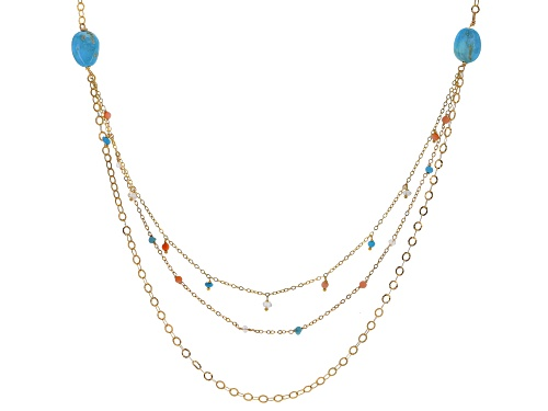 Photo of Tehya Oyama Turquoise™ Mixed Sleeping Beauty, Orange Coral & Quartz 18k Gold Over Silver Necklace - Size 24