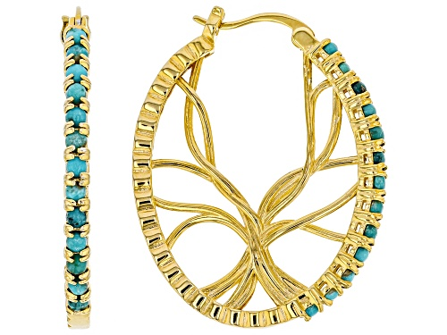 Photo of Tehya Oyama Turquoise™ Kingman Turquoise 18k Gold Over Silver Tree of Life Hoop Earrings