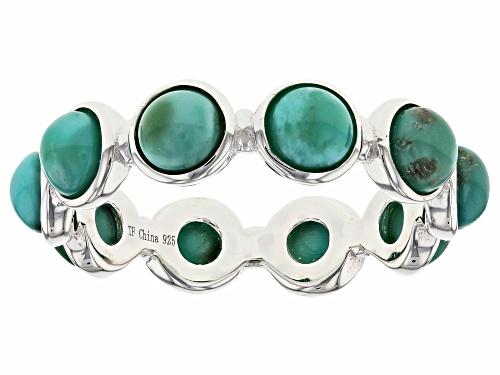 Photo of Tehya Oyama Turquoise™ 4mm Round Cabochon Green Kingman Turquoise Silver Eternity Band Ring - Size 9