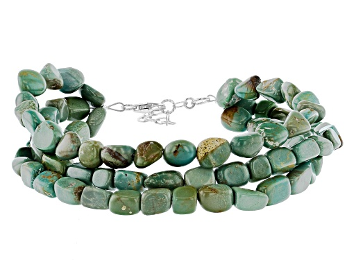 Photo of TEHYA OYAMA TURQUOISE(TM) 6-9 MM GREEN KINGMAN TURQUOISE NUGGET SILVER THREE-STRAND BRACELET - Size 7.5