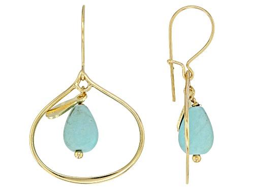 Photo of Tehya Oyama Turquoise™ Pear Shape Sleeping Beauty Turquoise Drop, 18K Gold Over Silver Earrings