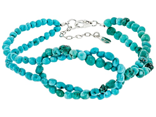 Photo of Tehya Oyama Turquoise™ 3mm Blue Sleeping Beauty & Green Kingman Turquoise Silver Knot Bracelet - Size 7.5