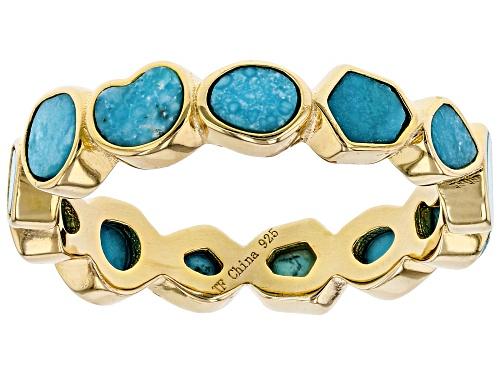 Photo of Tehya Oyama Turquoise™ 4-5mm Mixed Sleeping Beauty Turquoise 18k Gold Over Silver Eternity Band - Size 9