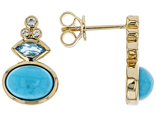 Photo of Tehya Oyama Turquoise™ Sleeping Beauty Turquoise, Blue & White Topaz 18k Gold Over Silver Earrings