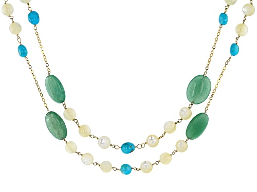 Photo of Tehya Oyama Turquoise™ Turquoise, Mother of Pearl & Green Chalcedony 18K Gold Over Silver Necklace - Size 18