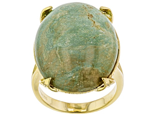 Photo of Tehya Oyama Turquoise™ 25x18mm Oval Green Kingman Turquoise Solitaire, 18k Gold Over Silver Ring - Size 7