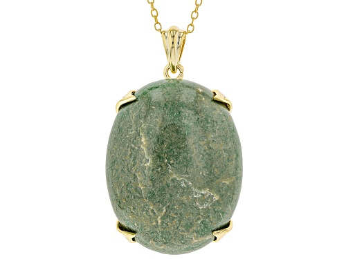 Photo of 25x18mm Oval Green Kingman Turquoise 18K Gold Over Silver Pendant W/Chain