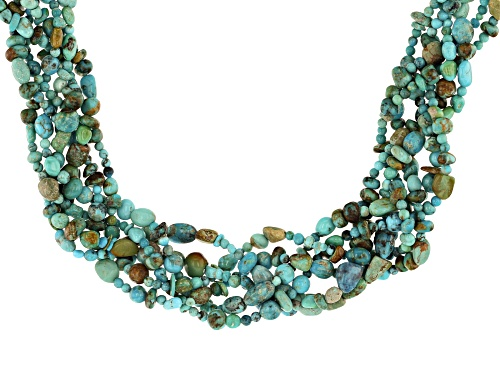 Photo of Teyha Oyama Turquoise™ Mixed MM Kingman Turquoise With Matrix Nugget Silver Braided Necklace - Size 18