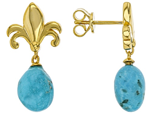 Photo of Tehya Oyama Turquoise™ 8-10mm Off Round Sleeping Beauty Turquoise 18K Gold Over Silver Earrings