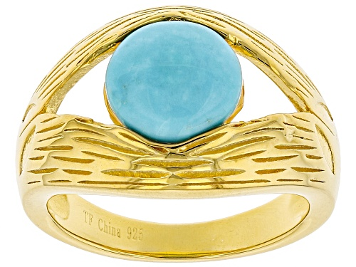 Photo of Tehya Oyama Turquoise™ 9mm Round Sleeping Beauty Turquoise Solitaire 18K Gold Over Silver Ring - Size 7