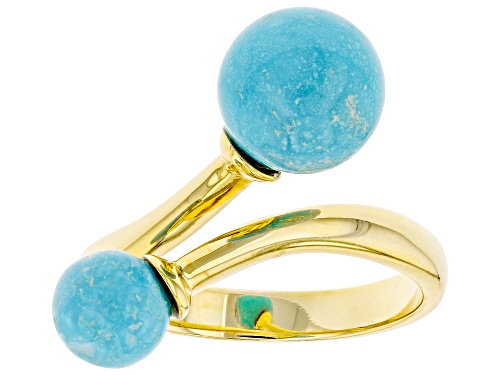 Photo of Tehya Oyama Turquoise™ 7-9mm Off Round Sleeping Beauty Turquoise 18K Gold Over Silver Bypass Ring - Size 7