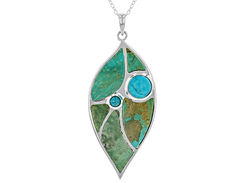 Photo of Kingman & Sleeping Beauty Turquoise Silver Inlay Leaf Pendant W/Chain