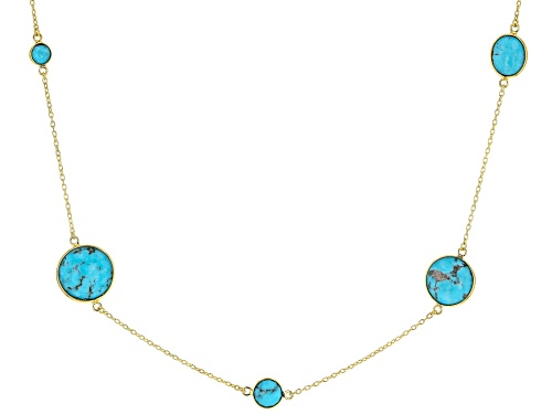Photo of Mixed MM Round & Oval Kingman Turquoise 18k Yellow Gold Over Silver Necklace - Size 24