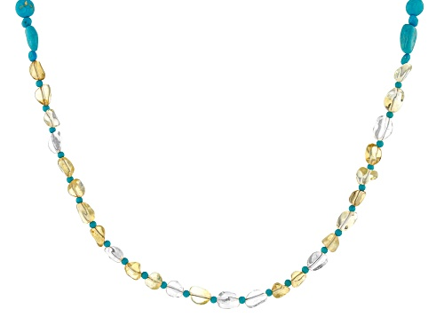 Photo of Tehya Oyama Turquoise™ Turquoise With Canary Yellow Quartz 18k Gold Over Silver Necklace - Size 18