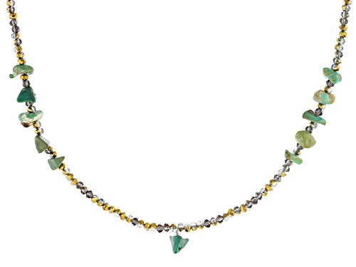 Tehya Oyama Turquoise™ Green Kingman Turquoise & Iridescent Glass Bead Sterling Silver Necklace - Size 18
