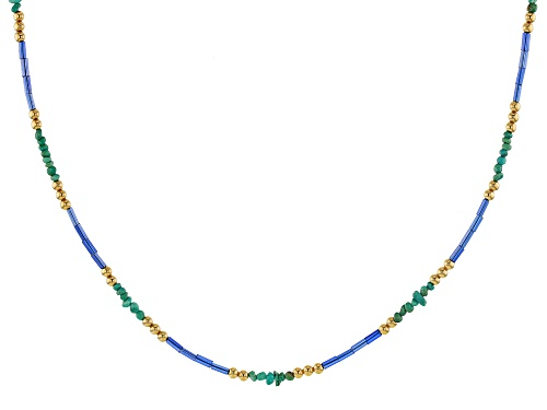 Photo of Tehya Oyama Turquoise™ Green Kingman Turquoise, Blue Glass, 18k Gold Over Silver Bead Necklace - Size 18