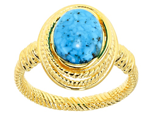 Photo of Tehya Oyama Turquoise™ 8x10mm Oval Kingman Turquoise Solitaire 18k Gold Over Silver Textured Ring - Size 9