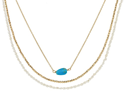 Photo of Tehya Oyama Turquoise™ Turquoise, Hematine & Cultured Freshwater Pearl 18k Gold Over Silver Necklace - Size 18