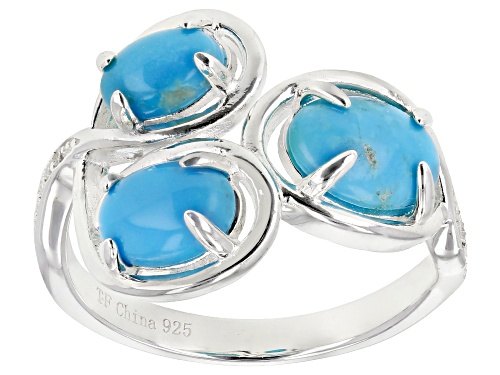 Photo of Tehya Oyama Turquoise™ Oval Sleeping Beauty Turquoise With .01ctw Cubic Zirconia Silver 3-Stone Ring - Size 7
