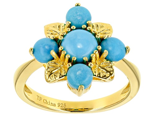 Photo of Tehya Oyama Turquoise™ 4mm & 6mm Round Sleeping Beauty Turquoise 18k Gold Over Silver Leaf Ring - Size 9