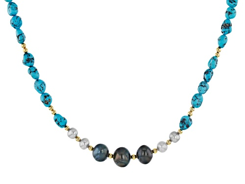 Photo of Tehya Oyama Turquoise™ Turquoise, Cultured Freshwater Pearl 18k Gold Over Silver Bead Necklace - Size 18