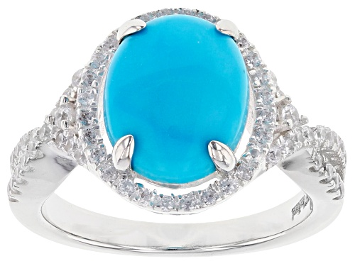 Photo of 9x11mm Sleeping Beauty Turquoise, 0.4ctw Cubic Zirconia Sterling Silver Ring - Size 9