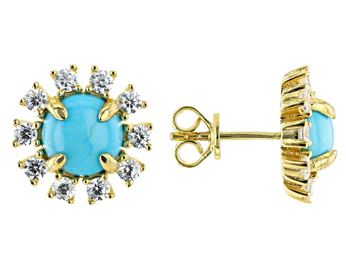 Photo of Sleeping Beauty Turquoise & Cubic Zirconia 18k Gold Over Silver Earrings