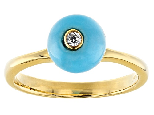Photo of Sleeping Beauty Turquoise, Cubic Zirconia 18k Gold Over Silver Ring - Size 8