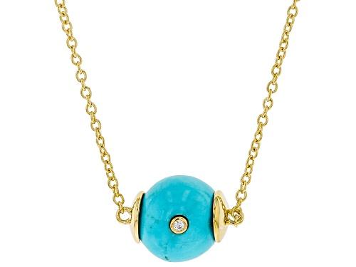 Photo of Tehya Oyama Turquoise™ Sleeping Beauty Turquoise, Cubic Zirconia 18K Gold Over Silver Necklace - Size 18
