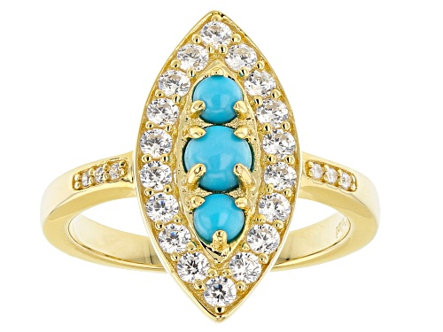Photo of Sleeping Beauty Turquoise, 0.12ctw Cubic Zirconia 18K Gold Over Silver Ring - Size 8