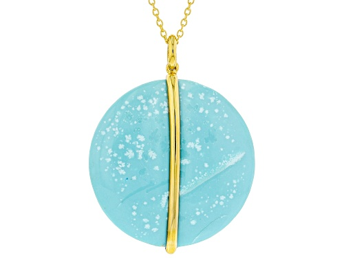 Photo of 30x30mm Blue Kingman Turquoise 18K Gold Over Silver Disc Pendant W/ Chain