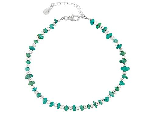 Blue & Green  Free-Form Kingman Turquoise Nugget Sterling Silver Bracelet - Size 7.5