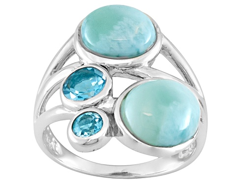 Photo of Oval And Round Cabochon Larimar With .73ctw Round Swiss Blue Topaz Sterling Silver Ring - Size 6