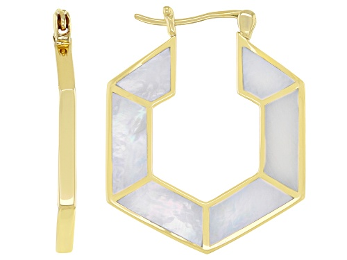 Photo of Custom Mother-Of-Pearl 18k Yellow Gold Over Sterling Silver Hoop Earrings