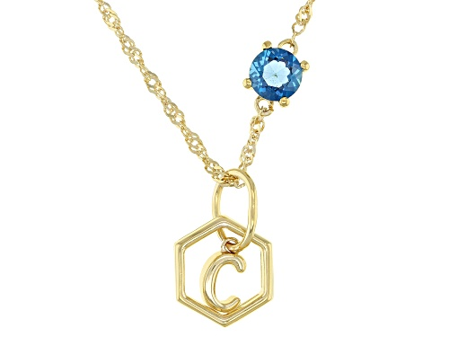 """Photo of .53ct Round London Blue Topaz 18K Yellow Gold Over Sterling Silver """"C"""" Pendant With Chain"""
