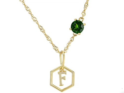 "Photo of .47ct Round chrome diopside 18K yellow gold over sterling silver ""F"" pendant with chain"